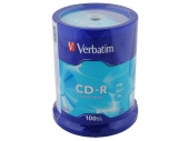 Диск CD-R Verbatim 700Mb, 52x, 100шт. (Cake Box)